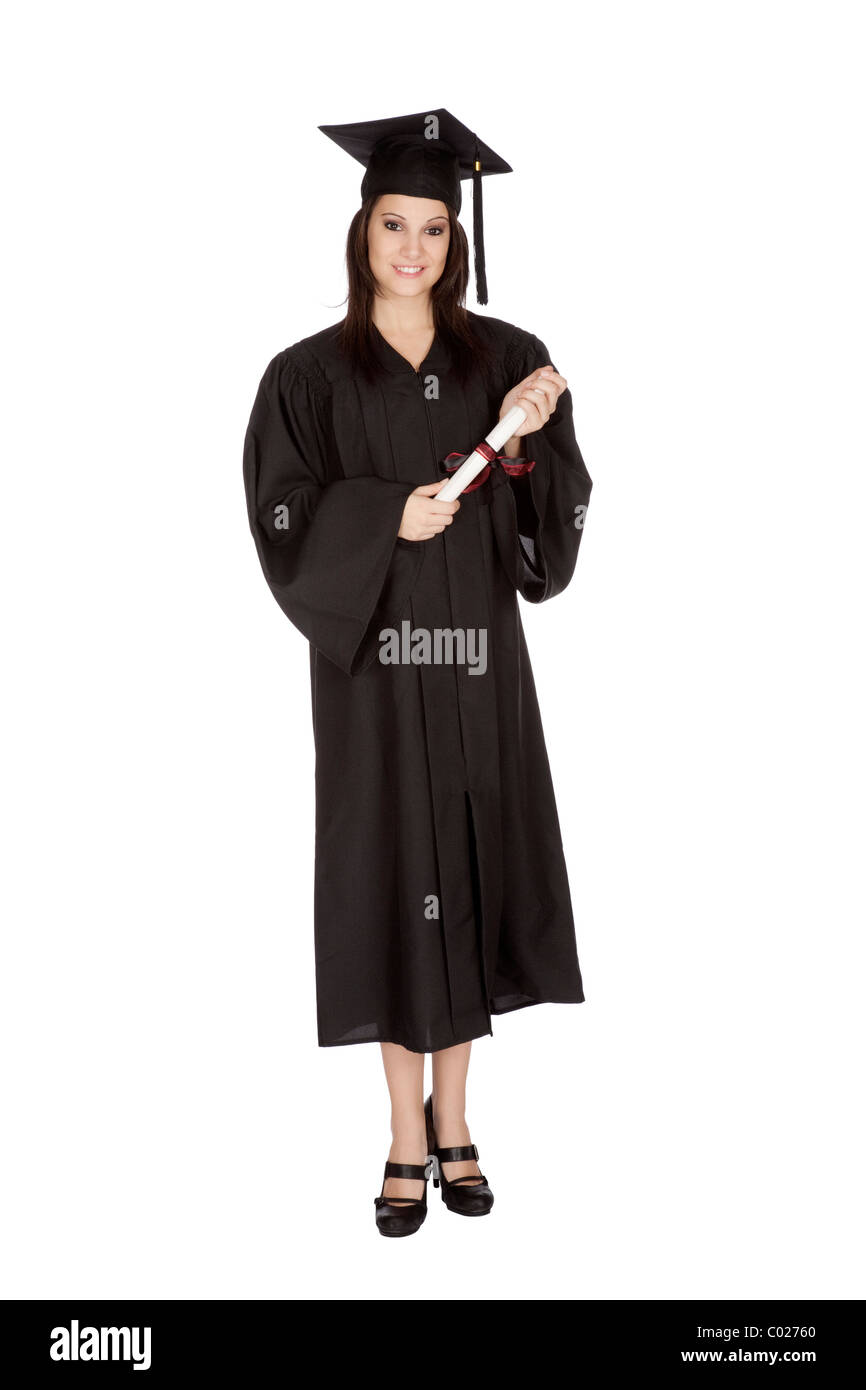 Beautiful Caucasian woman posing in a black graduation gown Stock ...