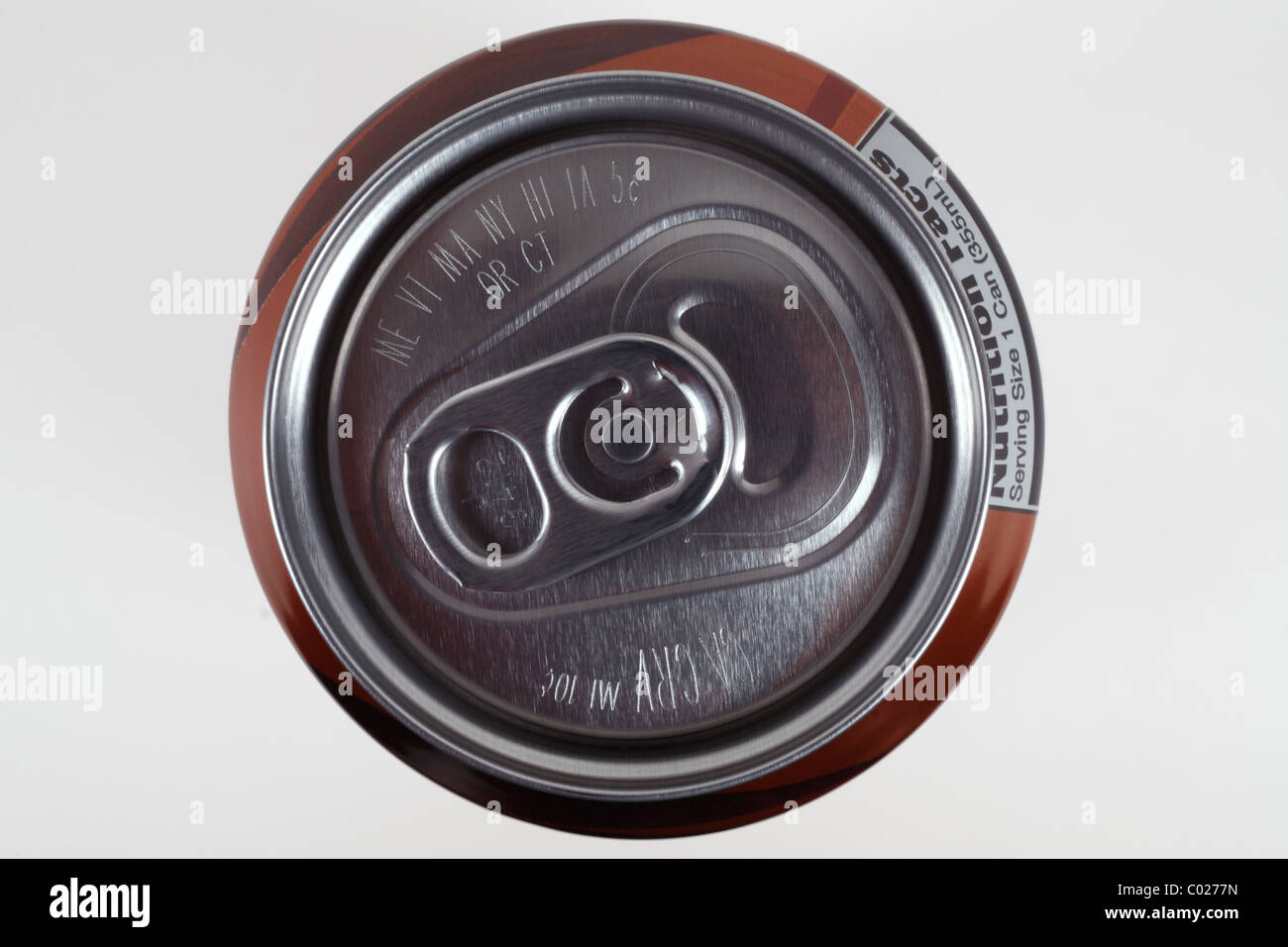 Top of aluminum soda can Stock Photo