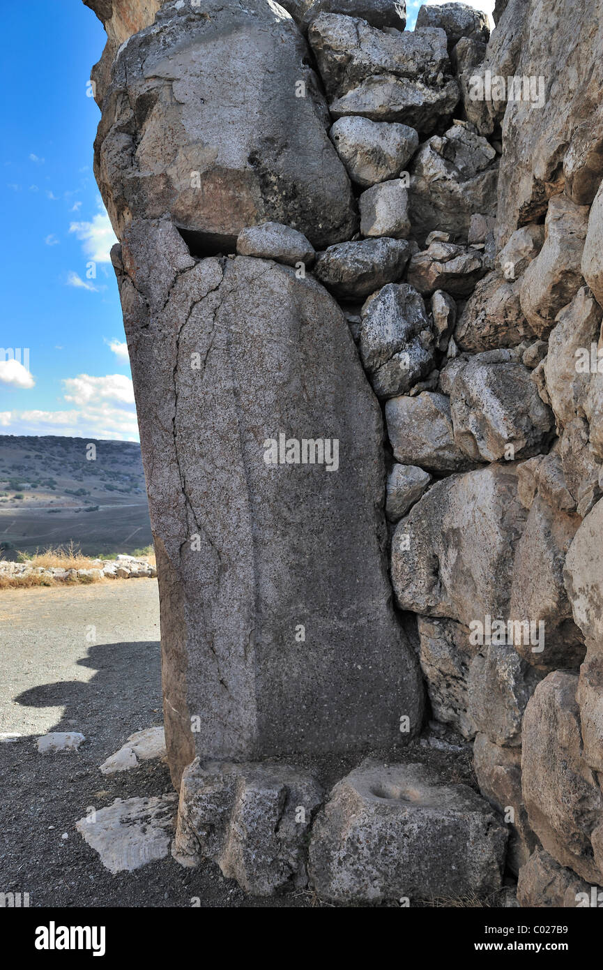 Doorway with pivot socket, King's Gate, Bogazköy, Turkey 101003_38694 - Stock Image