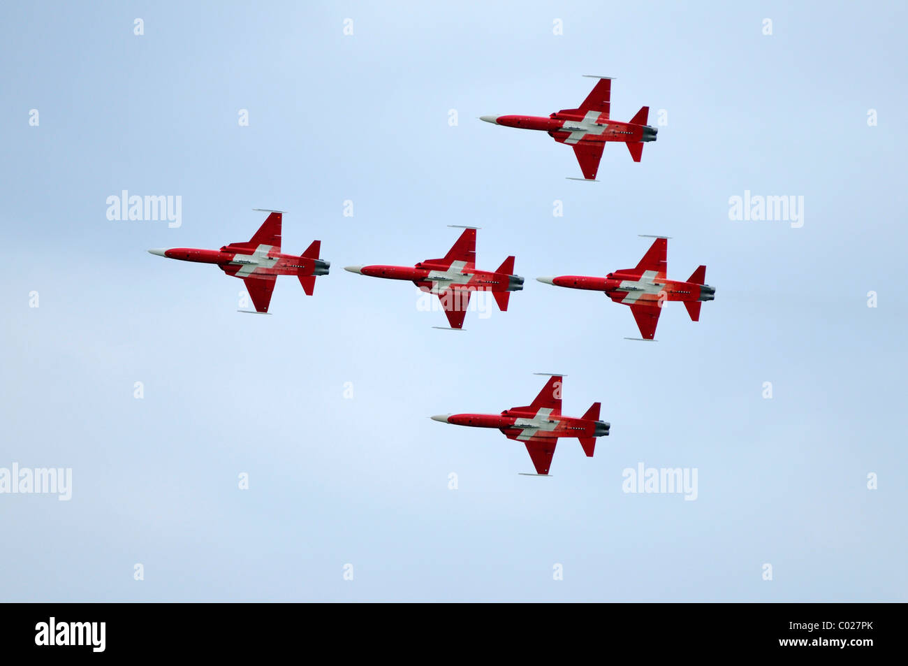 Patrouille Suisse flyingin formation, official jet aerobatic team of the Swiss Air Force, Emmen, Switzerland, Europe - Stock Image