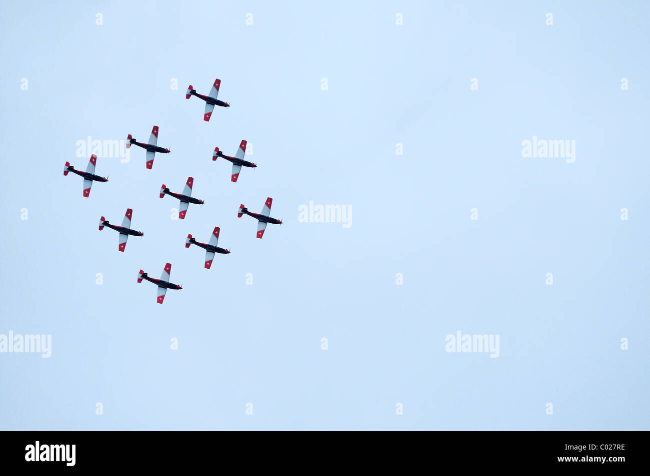 PC-7 team flying in formation, second aerobatic team of the Swiss Air Force, Emmen, Switzerland, Europe - Stock Image