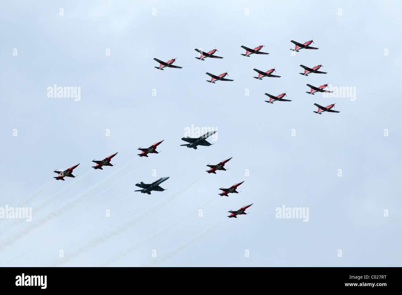 PC-7 Team followed by the FA-18 and Patrouille Suisse, Emmen, Switzerland, Europe - Stock Image