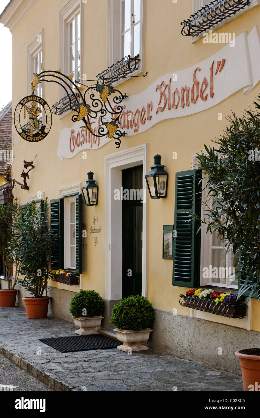 Restaurant 'Saenger Blondel' where according to legend king Richard the Lionheart was kept prisoner 1192 - Stock Image