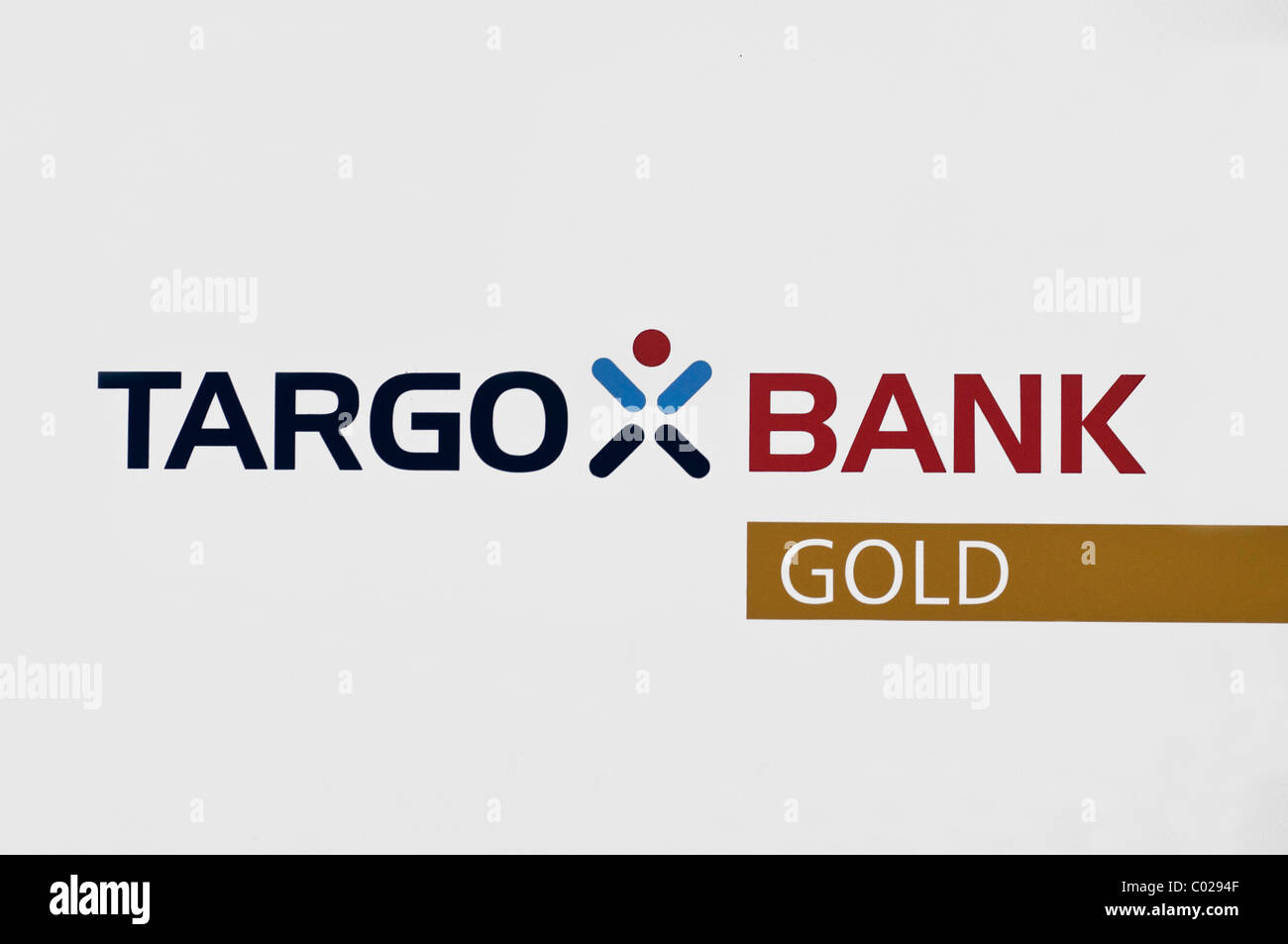 Lettering, Targo Bank Gold - Stock Image