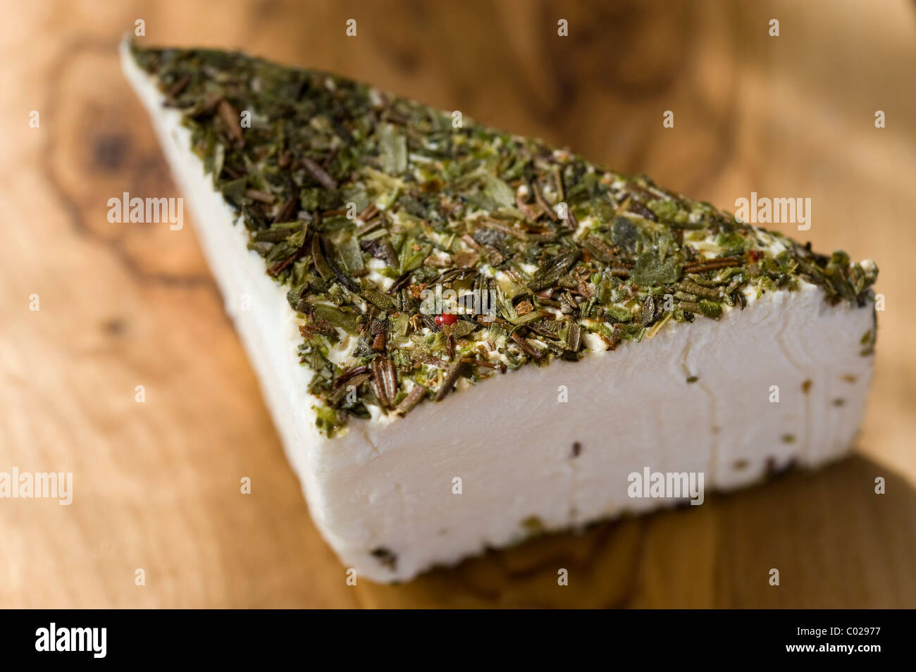 French goat cheese coated with Provencal herbs - Stock Image