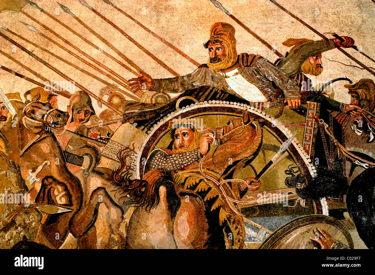 Persian King Darius III battle with Alexander  the Great Issus 331 B. C . Mosaic Pompeii 100 BC This image is Darius Stock Photo