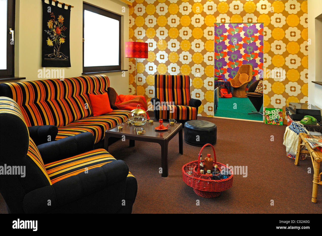 70s living room leading to a teenager 39 s room at a special exhibition stock photo 34472496 alamy. Black Bedroom Furniture Sets. Home Design Ideas