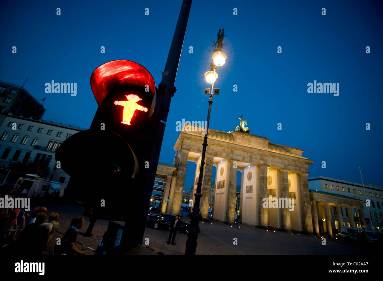 Brandenburg Gate with pedestrian traffic light, Berlin, Germany, Europe - Stock Image