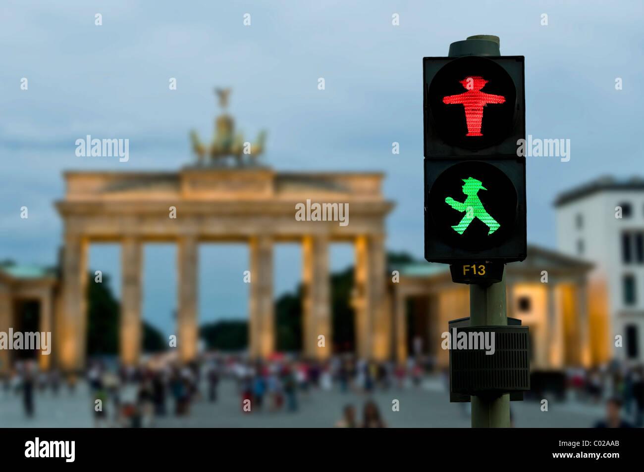 Brandenburg Gate with pedestrian traffic light, photo composition, Berlin, Germany, Europe - Stock Image