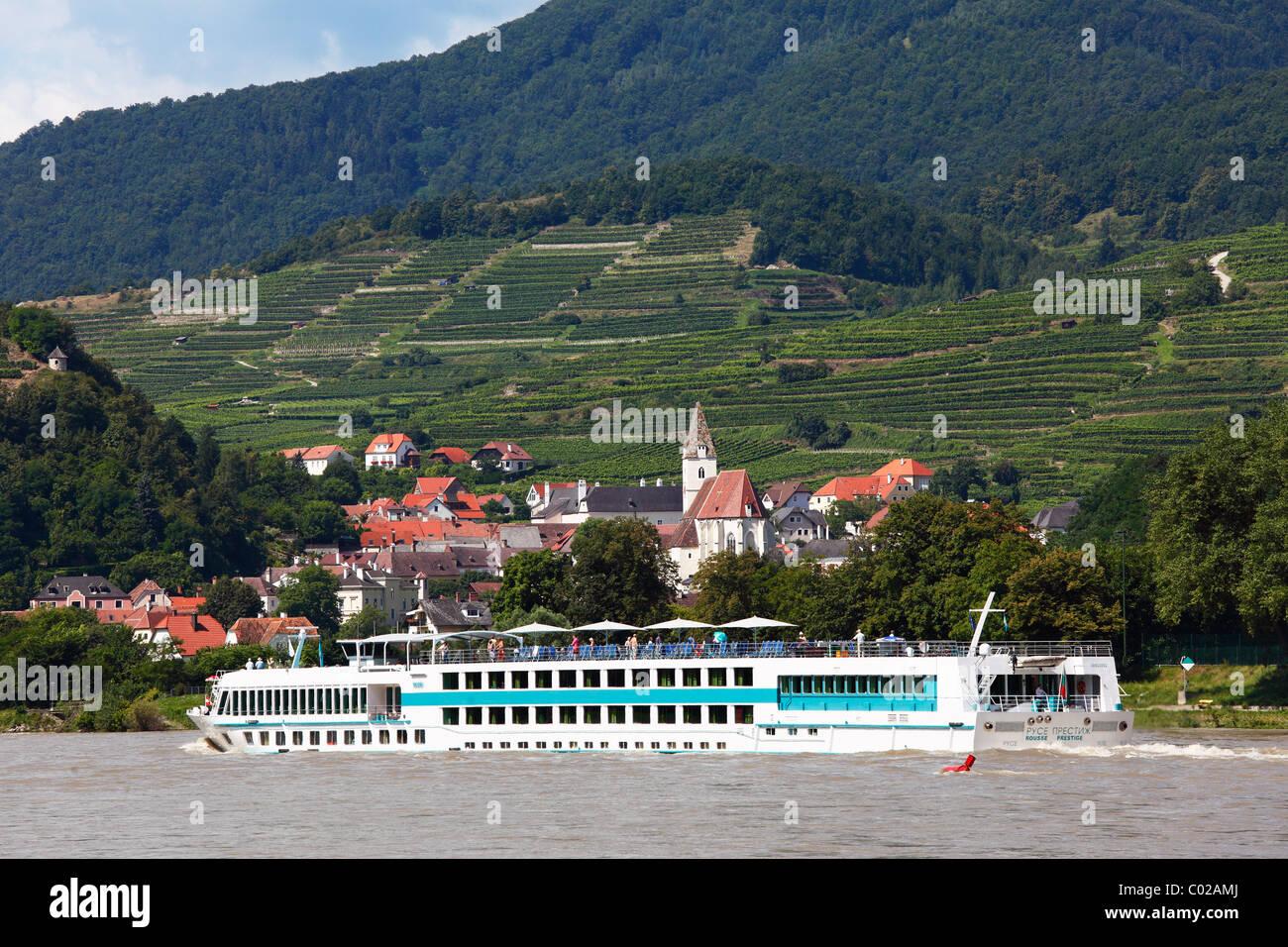 MS Rousse Prestige cruise ship on the Danube, Spitz, Wachau, Waldviertel quarter, Lower Austria, Austria, Europe - Stock Image