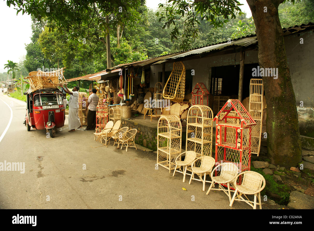 A Roadside Cane Furniture Shops, Sri Lanka   Stock Image