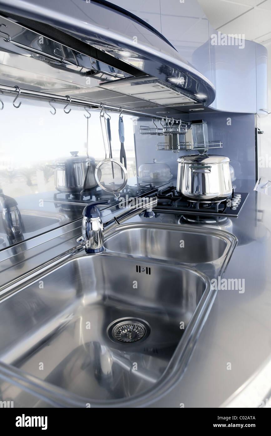 Blue Silver Kitchen Modern Architecture Decoration Interior Design Stock Photo Alamy