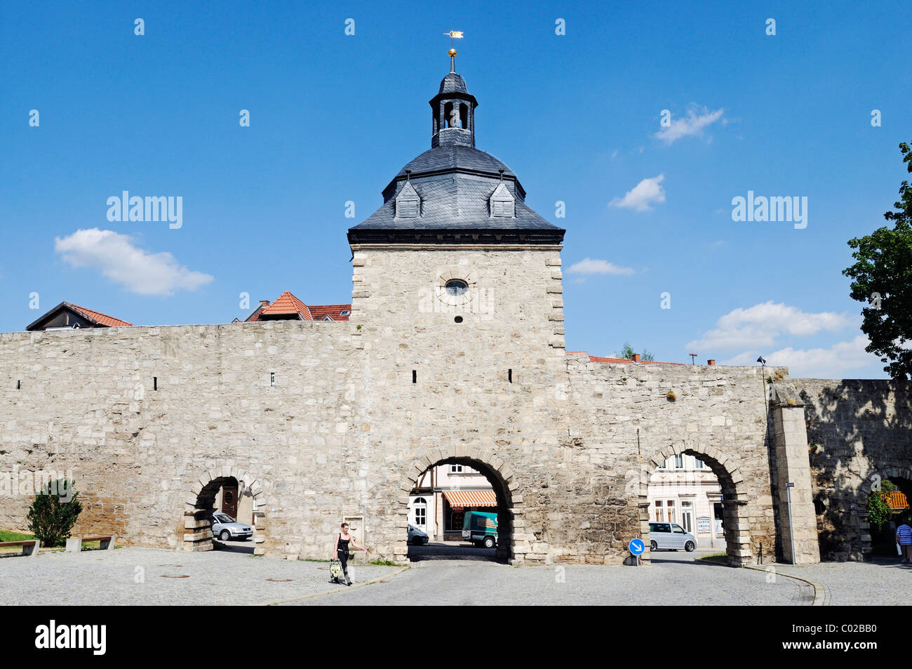 Inner side of Frauentor Gate with historic fortifications, city of Muehlhausen, Unstrut-Hainich-Kreis district, - Stock Image