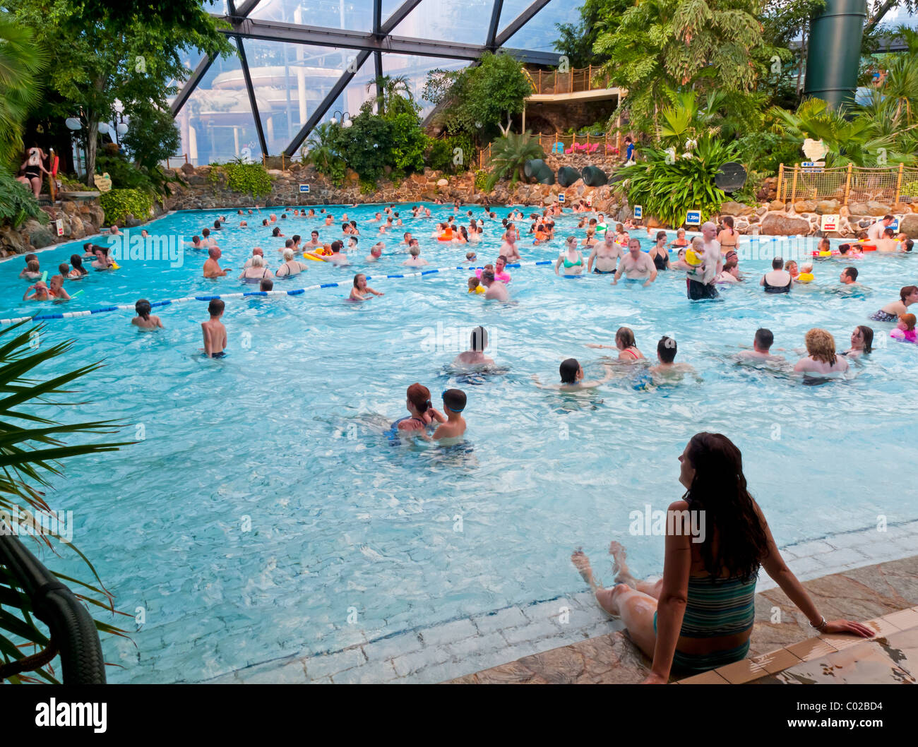 People Swimming In The Large Domed Pool At Center Parcs