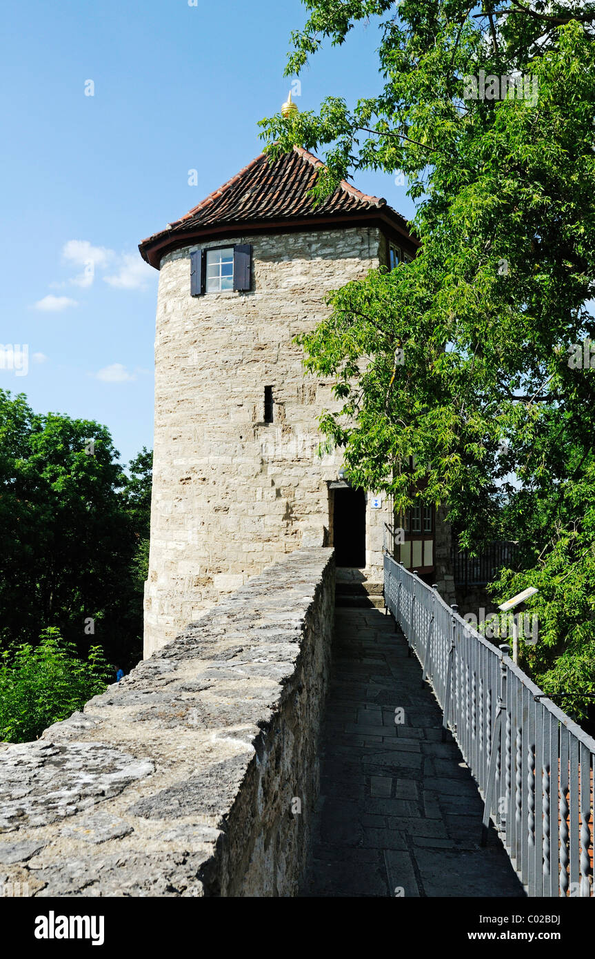 Defence tower and battlements with historic fortifications, city of Muehlhausen, Unstrut-Hainich-Kreis district, - Stock Image