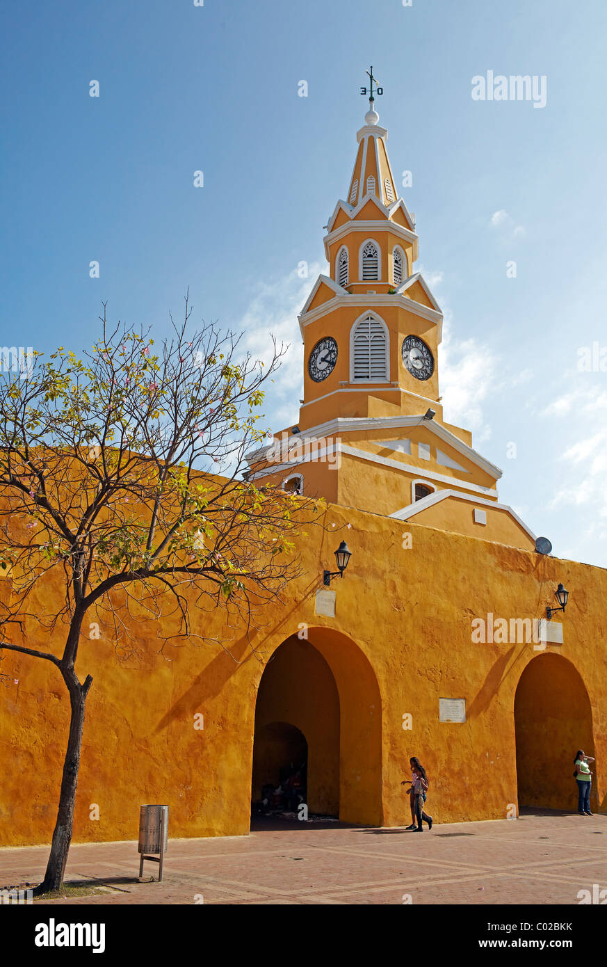 yellow clock tower, Cartagena old town, Colombia - Stock Image