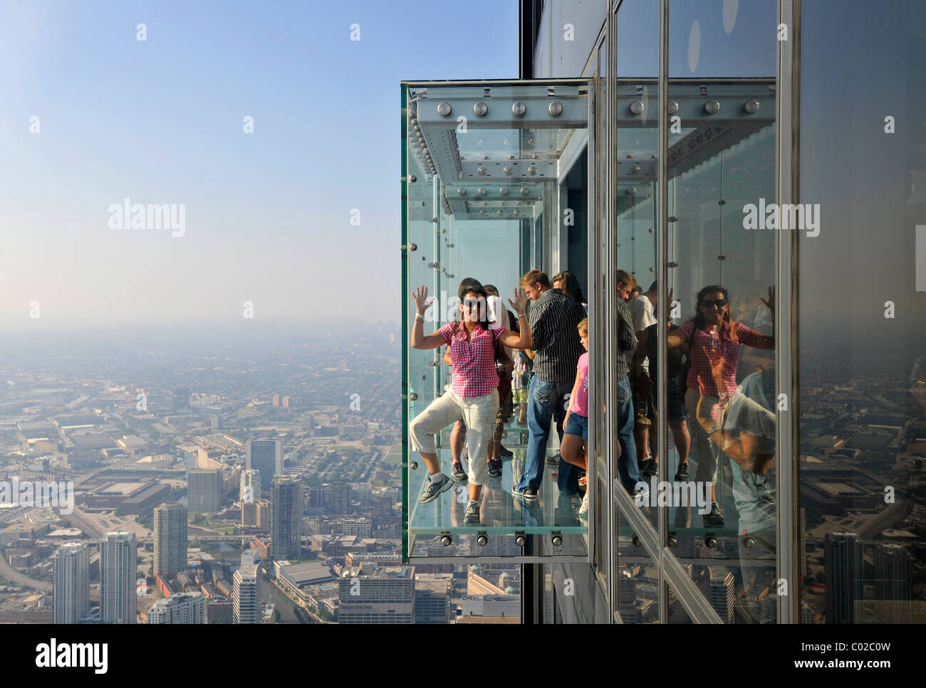 Visitors to the new 412-meter high observation deck Skydeck, Willis Tower, formerly named Sears Tower, Chicago, - Stock Image