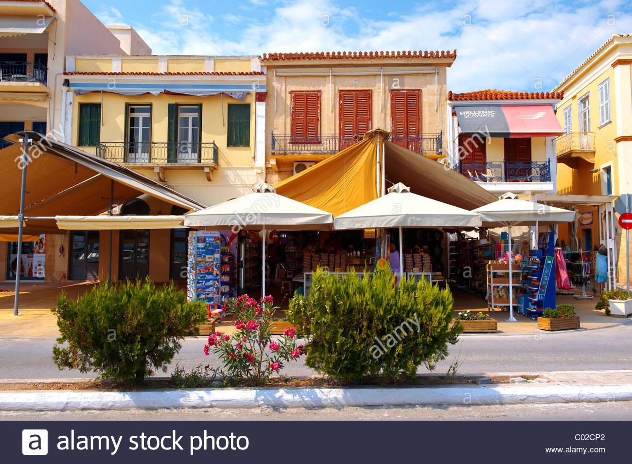 Typical port buildings of Aegins, Greek Saronic Islands - Stock Image