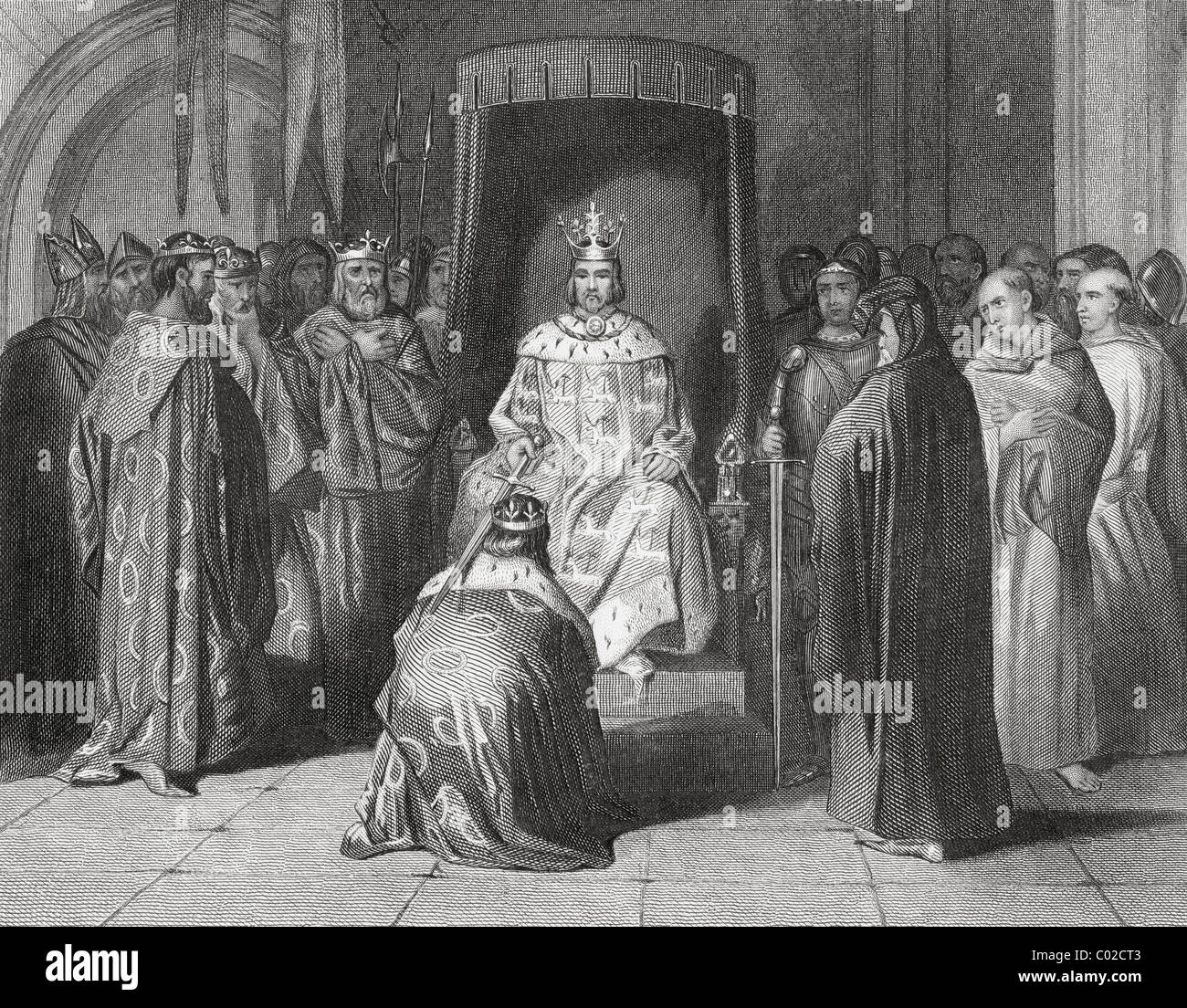 King Richard II knighting the kings of Connaught, Ulster, Thomond and Leinster in 1394. - Stock Image