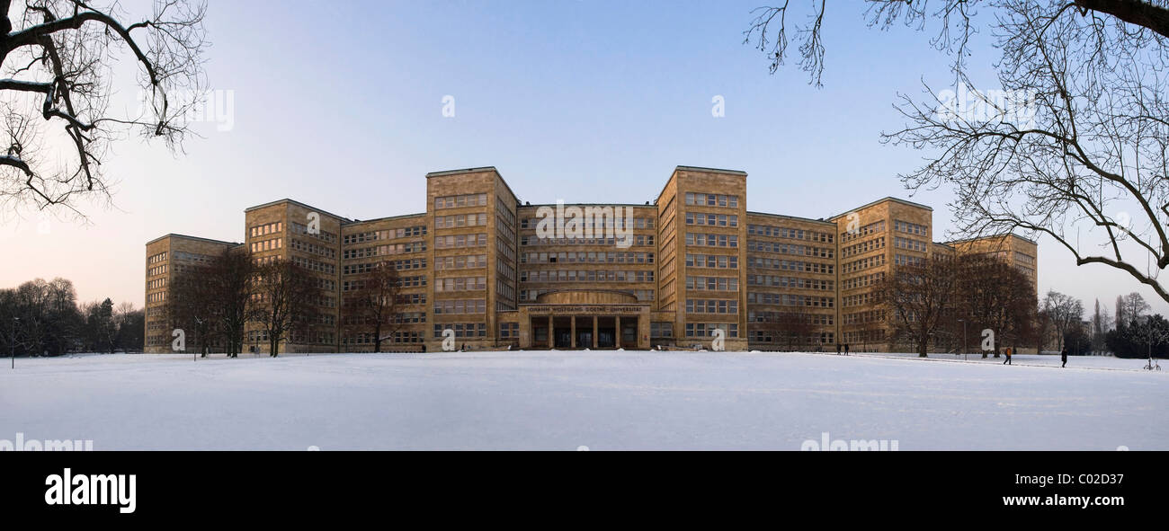 Panorama of the Johann Wolfgang Goethe University in winter, former IG Farben building, Poelzig-Bau building, Campus Stock Photo