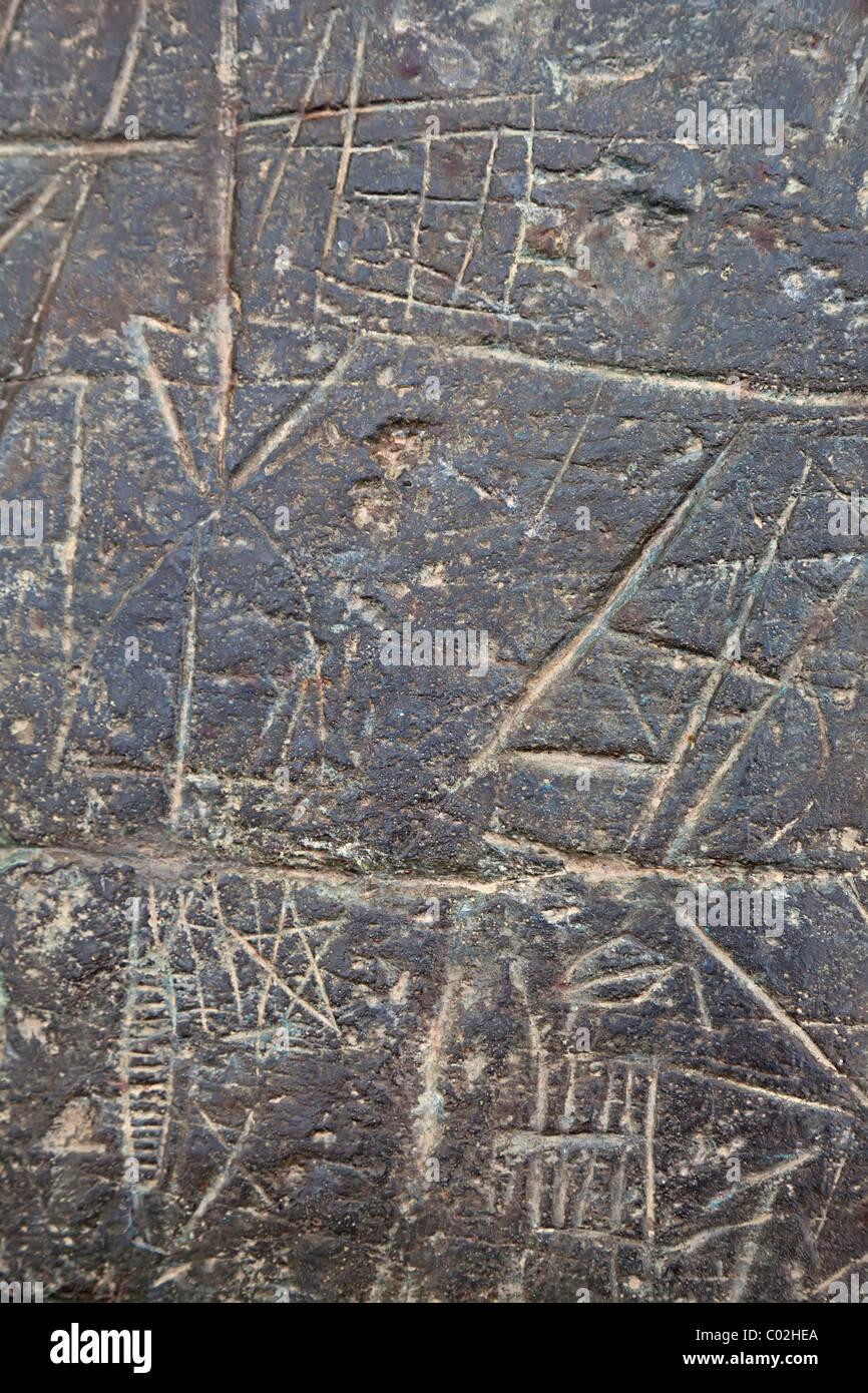 Prehistoric and mediaeval rock engravings Roc de les Bruixes Prats Androrra - Stock Image