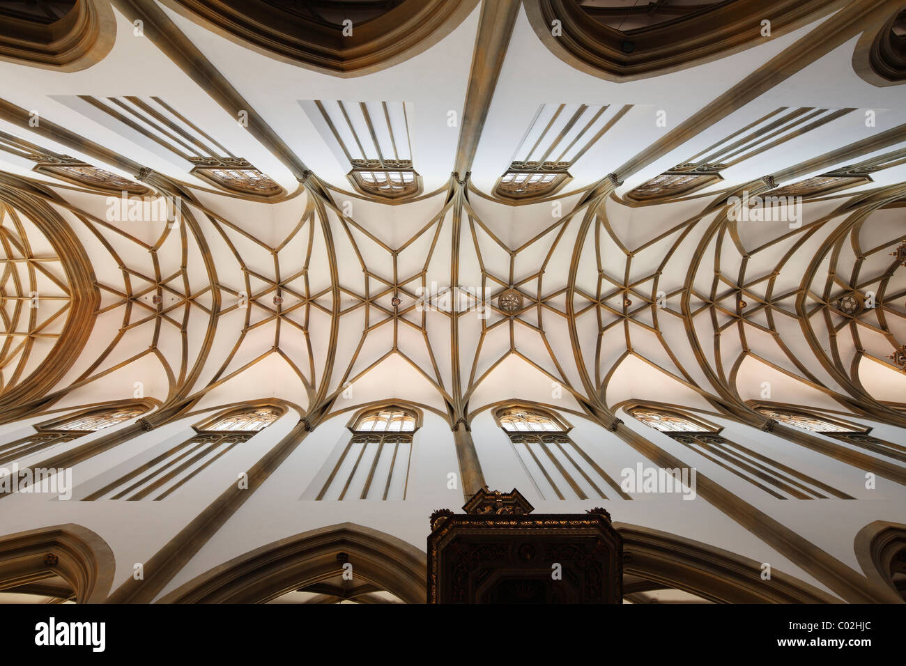 Starry vault of the church ceiling, Basilica of St. Ulrich and Afra, Augsburg, Schwaben, Bavaria, Germany, Europe Stock Photo