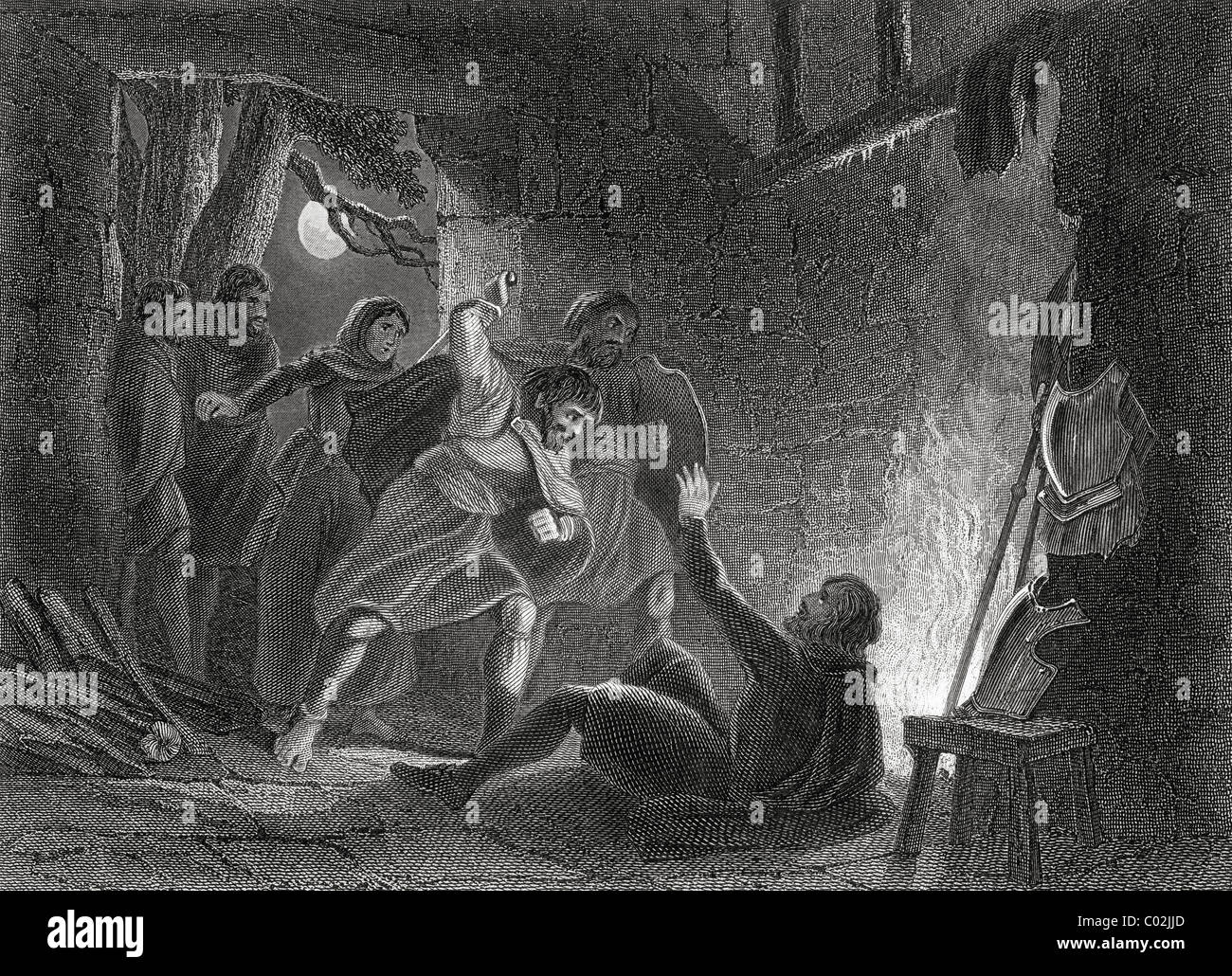 Death of the Earl of Desmond during the Desmond Rebellions of 1579 - Stock Image