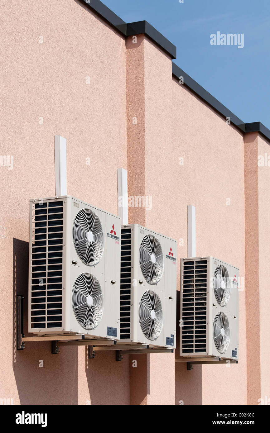 air conditioning split system home outdoor units of splitsystem air conditioners at supermarket duesseldorf north rhinewestphalia germany europe supermarket