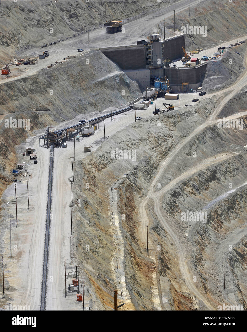 Conveyor belt, Bingham Canyon Mine or Kennecott Copper Mine, largest man-made open pit on earth, Oquirrh Mountains Stock Photo