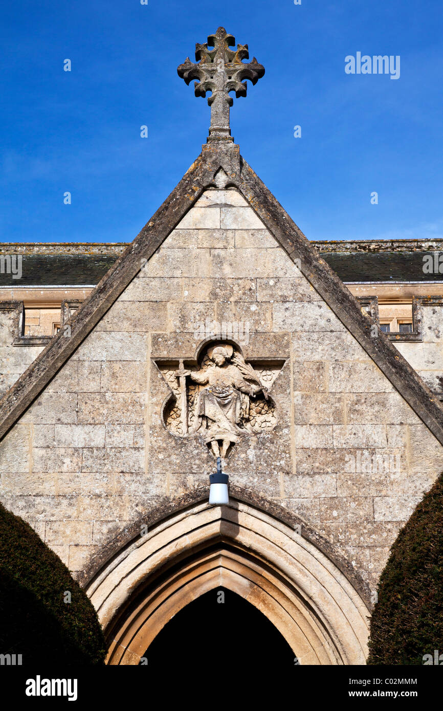 Detail of entrance to St Katharine's church in the village of Holt, Wiltshire, England, UK - Stock Image