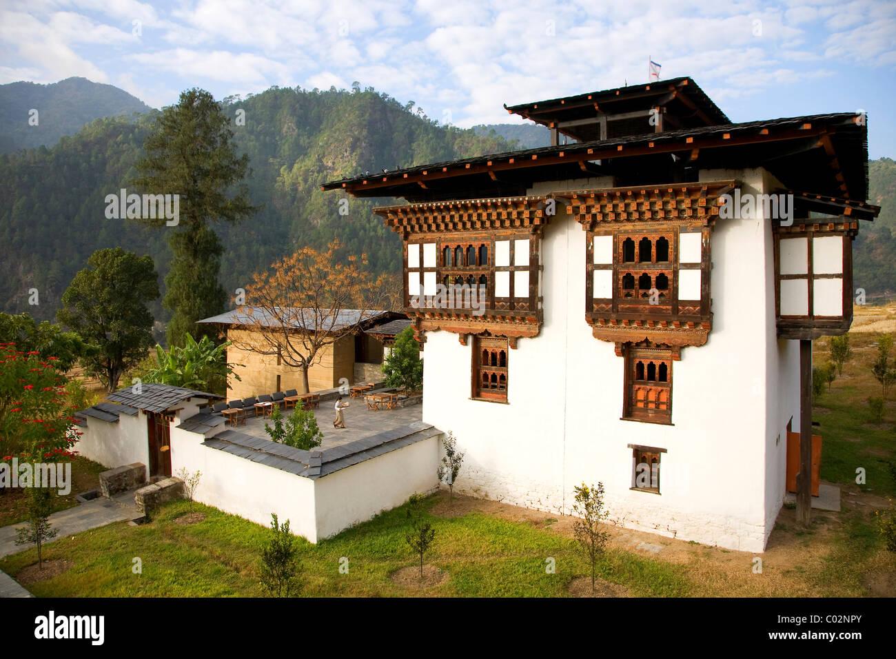 Amankora Hotel, Punakha, Bhutan, Kingdom of Bhutan, South Asia - Stock Image