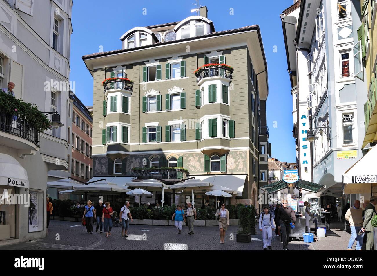 Dominican square Bolzano, South Tyrol, Tyrol, Italy, Europe - Stock Image