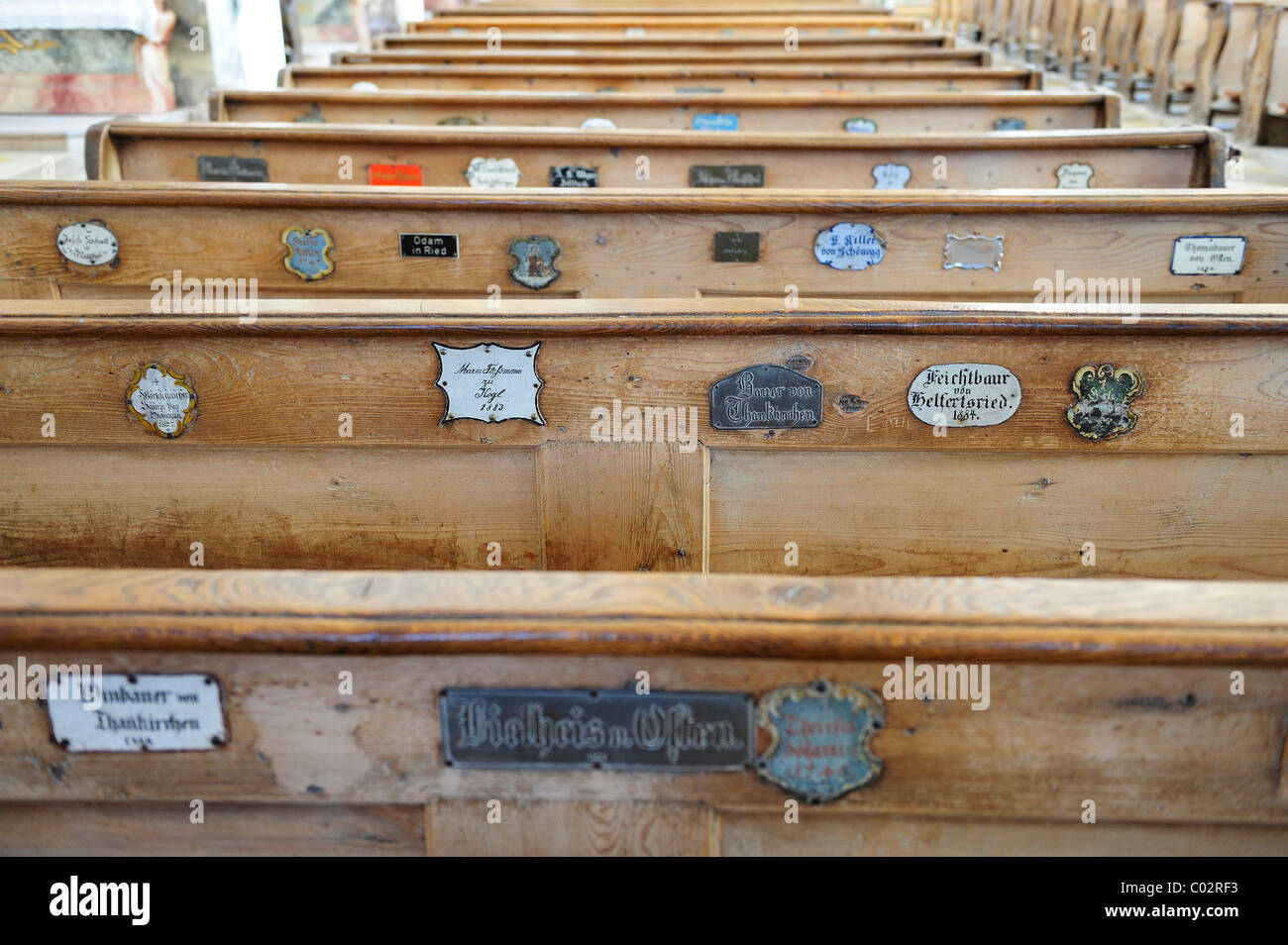 Church pews with nameplates, Visitationists convent Kloster Dietramszell, Dietramszell, Upper Bavaria, Bavaria, - Stock Image