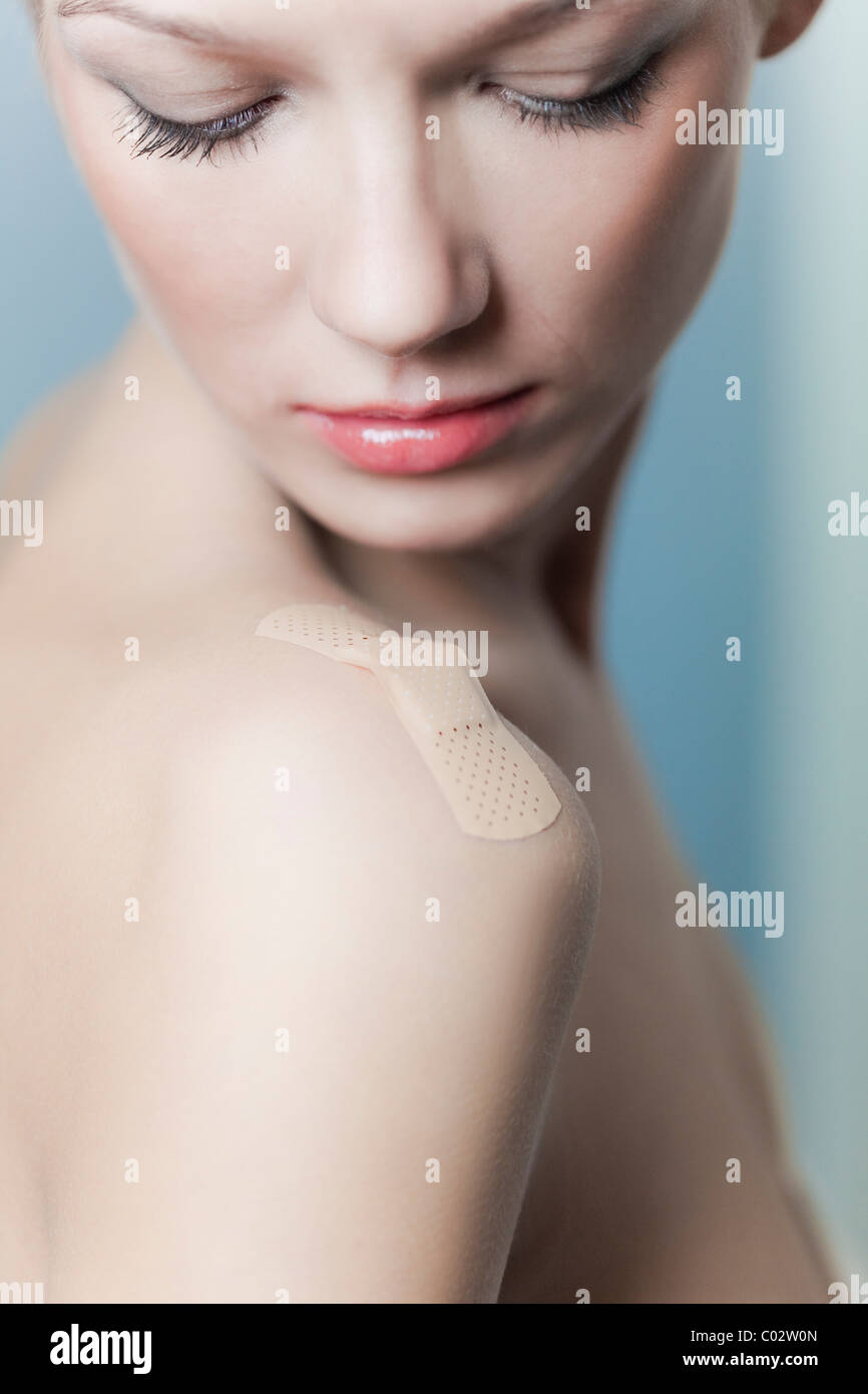 a patch on the shoulder of a woman Stock Photo