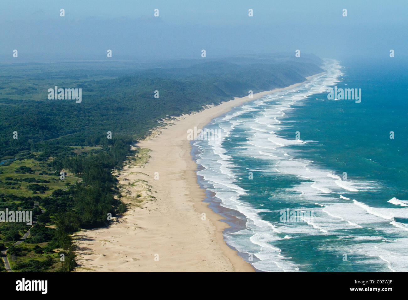 aerial shot of indian ocean coastline st lucia south africa stock