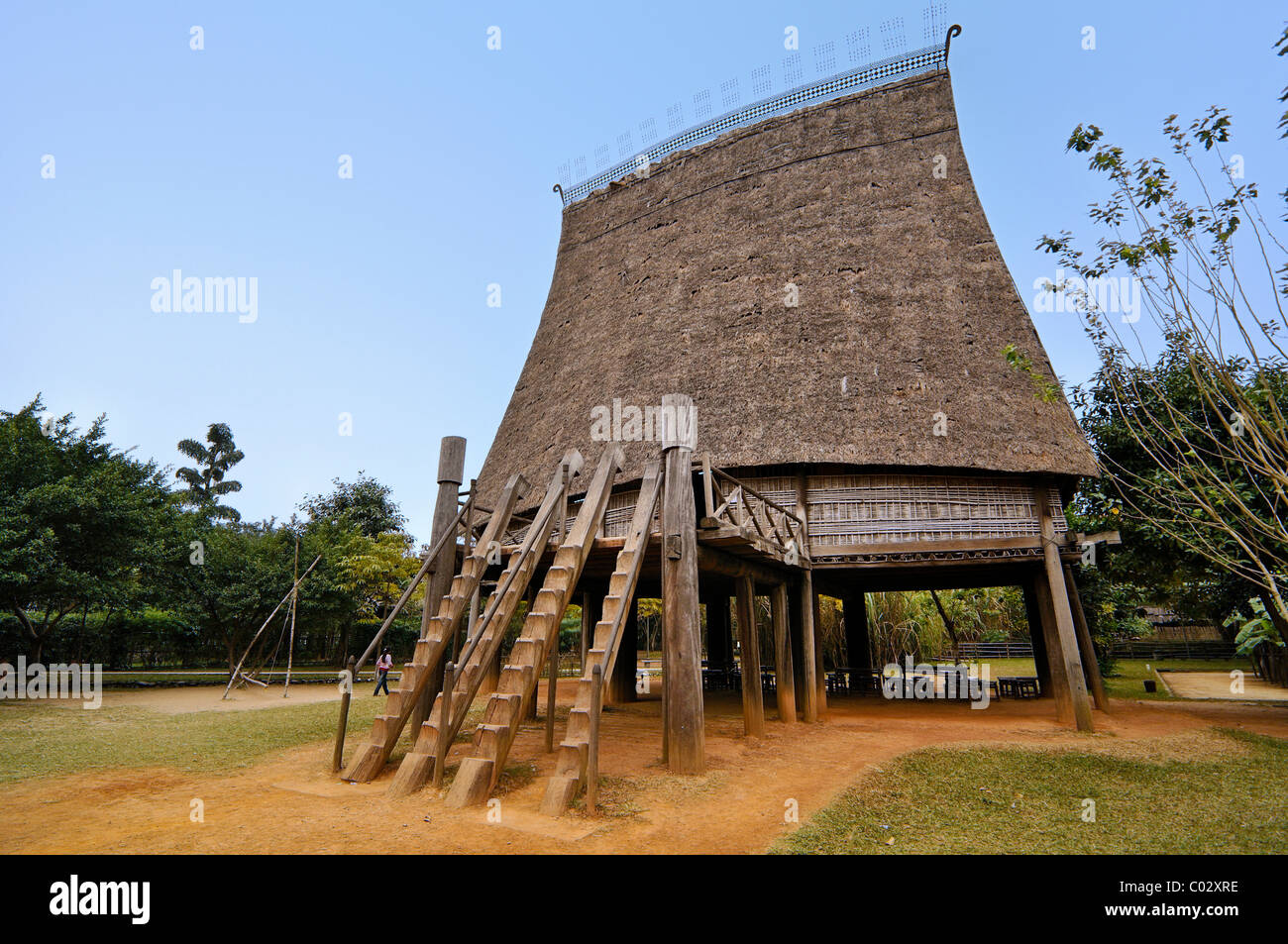 Reconstructed house from the Central Highlands, Museum of Ethnology Hanoi, Vietnam, Southeast Asia - Stock Image