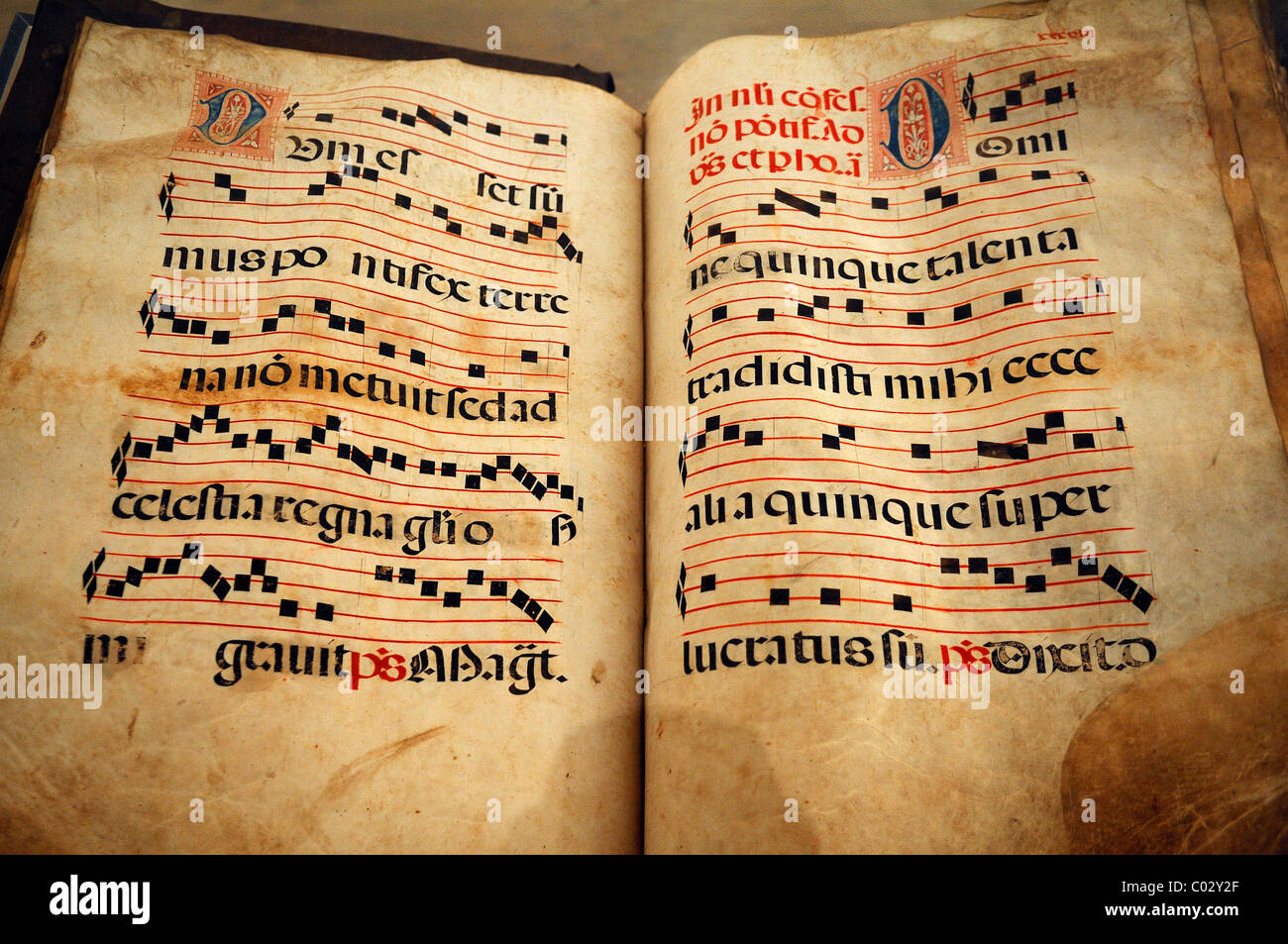 Pages from a choir book from, southern Germany, 17th century, Geigenbaumuseum violin museum, Ballenhausgasse 3, - Stock Image