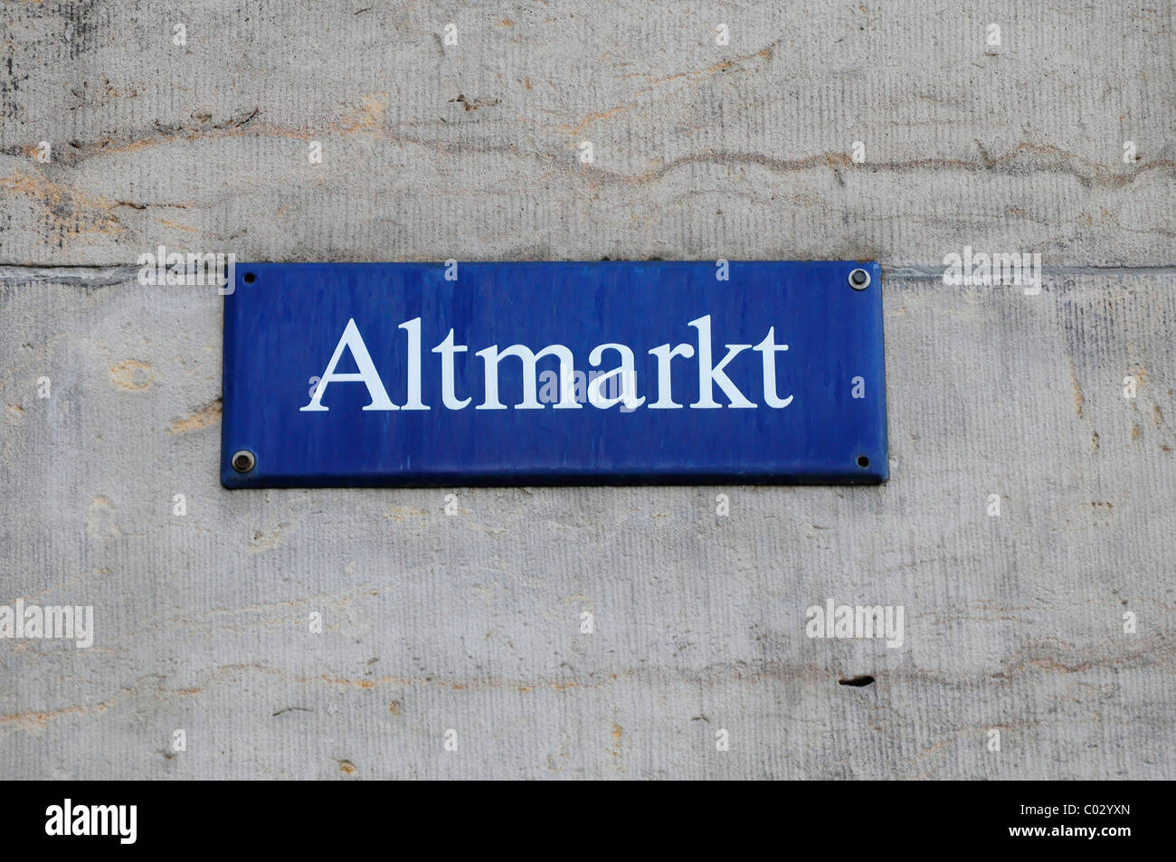 Altmarkt, street sign, Dresden, Saxony, Germany, Europe - Stock Image