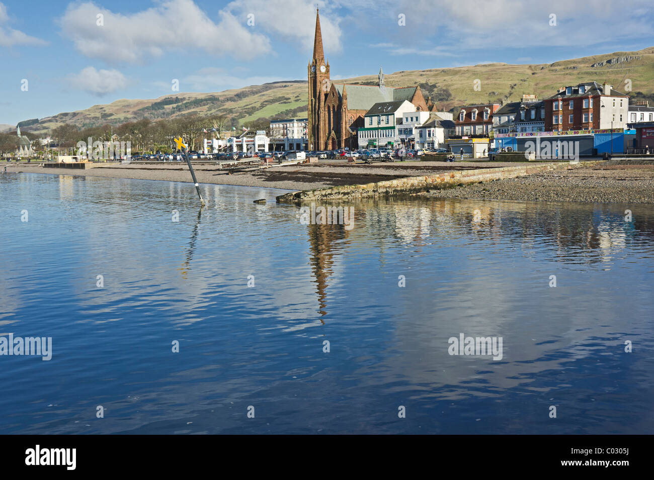 Sea frontage of seaside resort Largs in North Ayrshire Scotland on a sunny February day - Stock Image