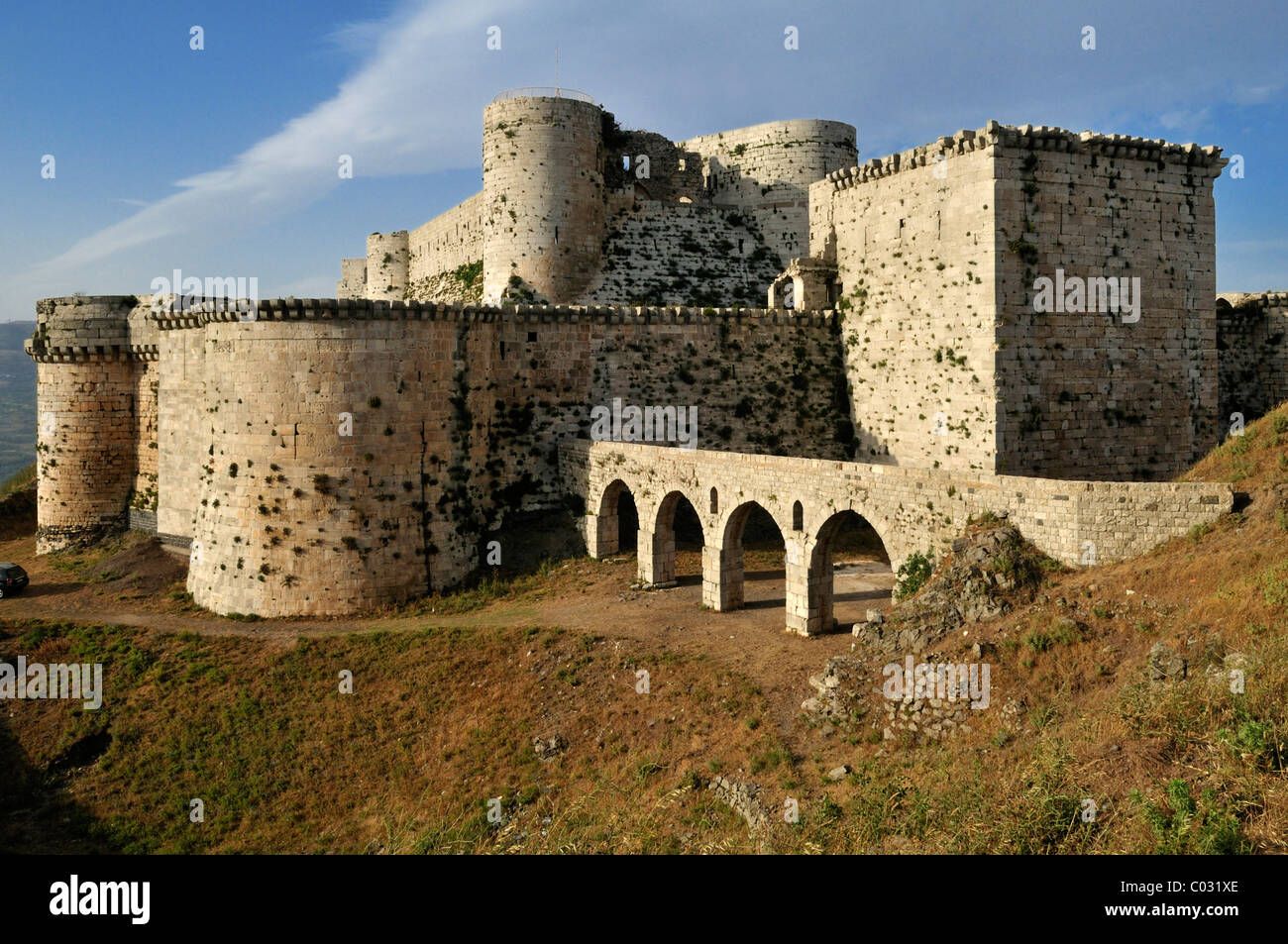 Crusader fortress Crac, Krak des Chavaliers, Qalaat al Husn, Hisn, Unesco World Heritage Site, Syria, Middle East, - Stock Image