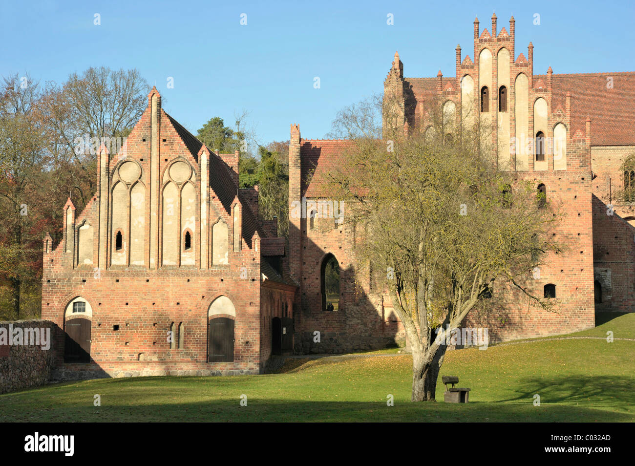Chorin Abbey, autumn mood, overall view, Brandenburg, Germany, Europe - Stock Image