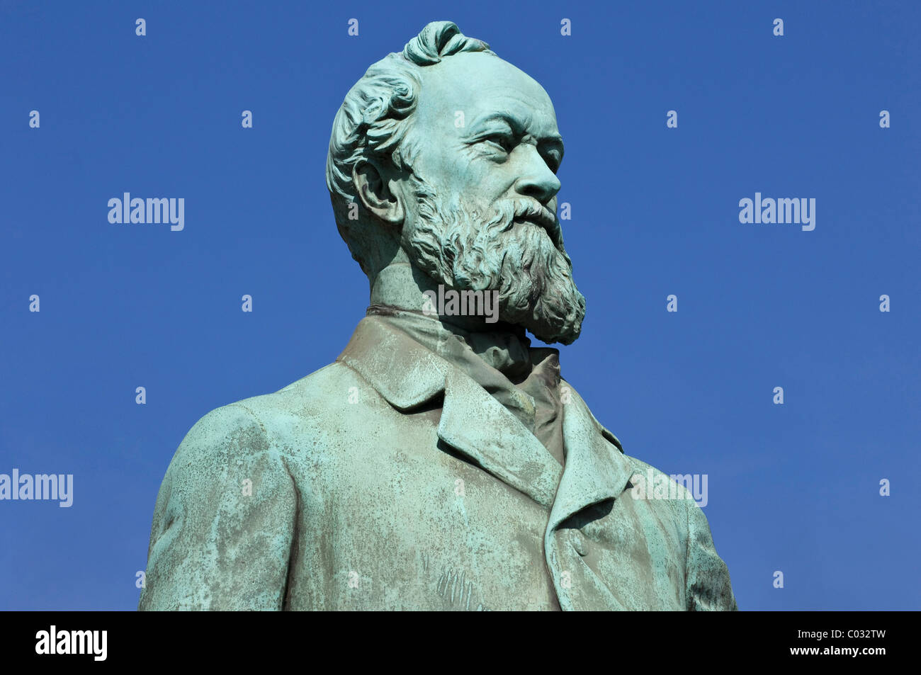 Statue of Alfred Krupp, industrialist and inventor, Essen, North Rhine-Westphalia, Germany, Europe - Stock Image