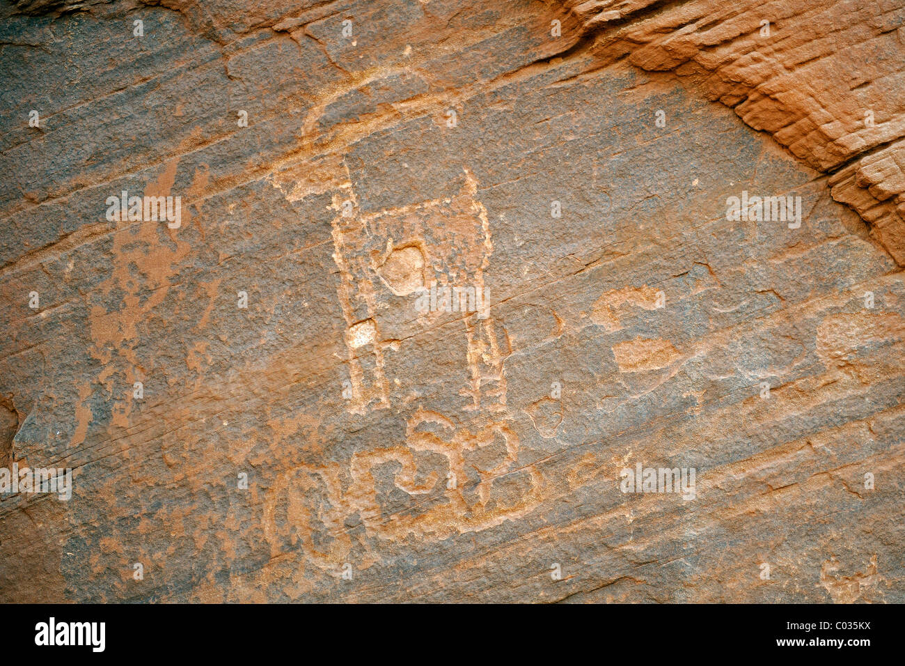 Ca. 1500 year old wall paintings by Native Americans, Monument Valley, Arizona, USA - Stock Image