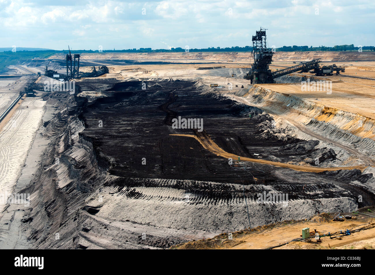 Two bucket excavators and a coal seam in the open pit in Garzweiler, North Rhine-Westphalia, Germany, Europe - Stock Image