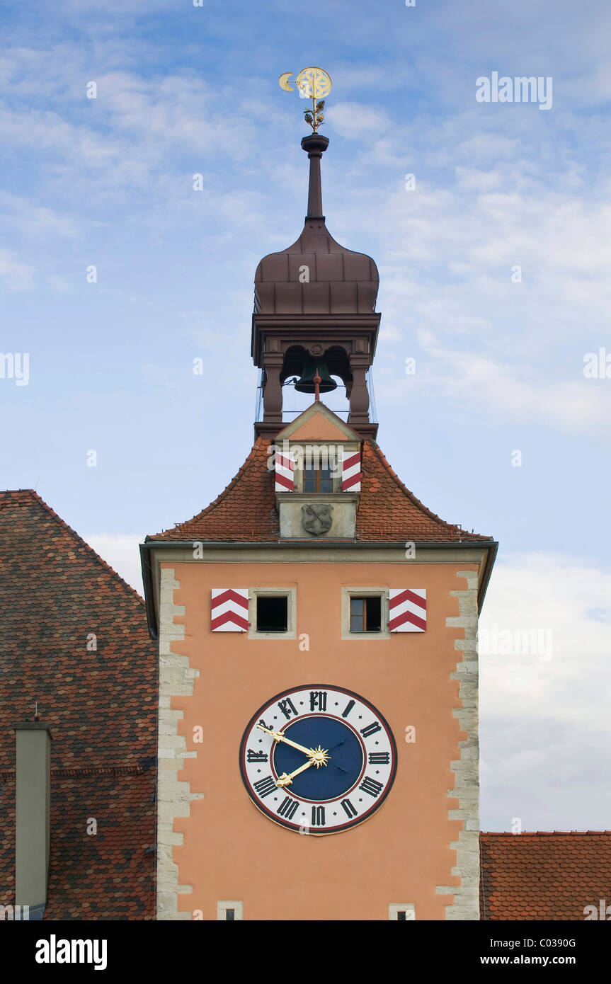 Upper part of the Bruecktor tower with, clock, bell and steepletop, UNESCO World Heritage Site Regensburg, Upper - Stock Image