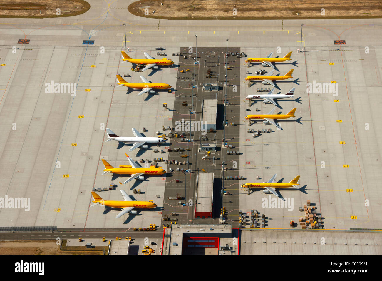 Aerial view, Leipzig International Airport, cargo airport, Schkeuditz, Saxony, Germany, Europe Stock Photo