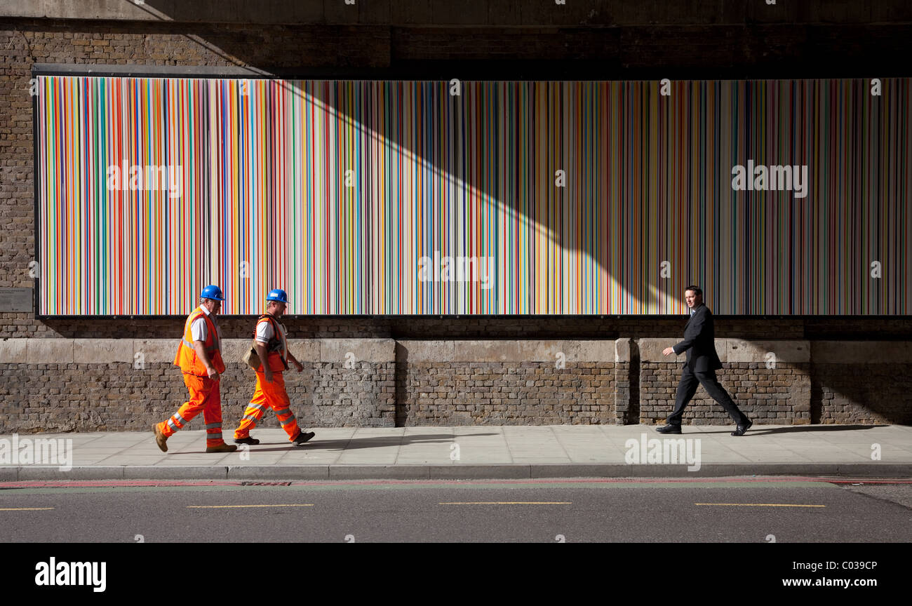 'Poured Lines' by Ian Davenport on Southwark street London SE1 - Stock Image