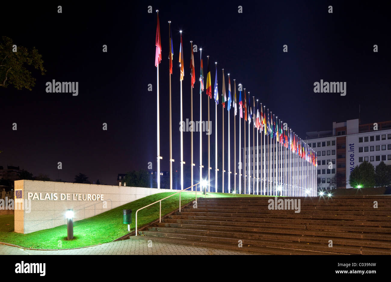 European flags in front of the main building of the Council of Europe, Strasbourg, Alsace, France, Europe - Stock Image