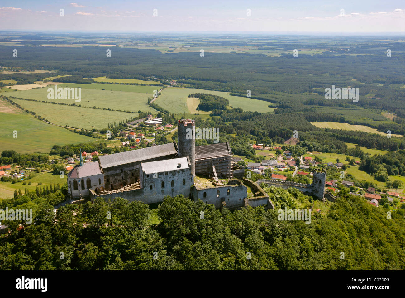 Aerial view, castle and castle hill, Ceska Lipa, Mladá Boleslav, Central Bohemia, Czech Republic, Europe Stock Photo