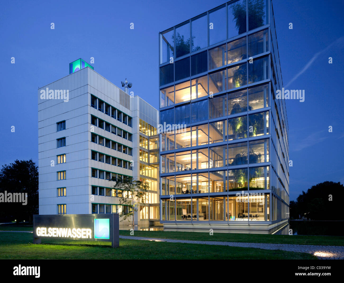 Headquarters of Gelsenwasser utilities company, Gelsenkirchen, Ruhr Area, North Rhine-Westphalia, Germany, Europe - Stock Image